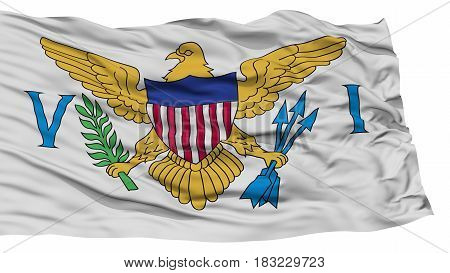Isolated United States Virgin Islands Flag, Waving on White Background, High Resolution