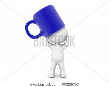 3D Character distressed with giant coffee cup on his head. The cup is blue.