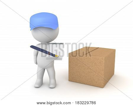 3D illustration of deliverman with package asking for a signature. He is holding a pen and paper aimed towards the camera.