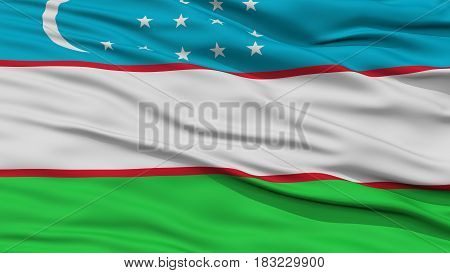 Closeup Uzbekistan Flag, Waving in the Wind, High Resolution