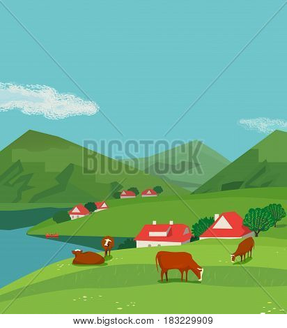 Green lmountains andscape. Freehand drawn cartoon outdoors style. Farming herd brown Alps cows on summer meadow. Rural community scene view with green grass on hills. Vector nature season background