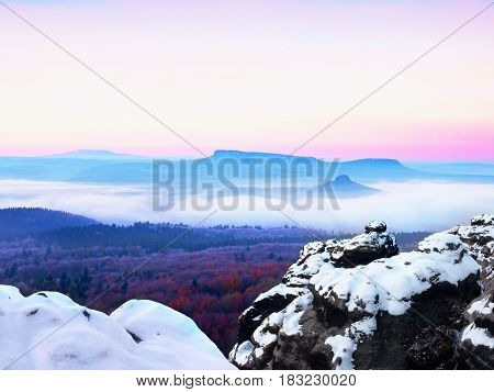 Abstract Colorful Mountains And Colorful Sky During Sunrise And Sunset.