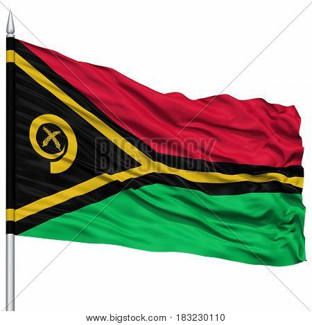 Vanuatu Flag on Flagpole , Flying in the Wind, Isolated on White Background