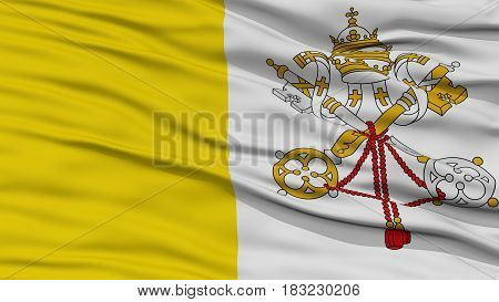 Closeup Vatican Flag, Waving in the Wind, High Resolution
