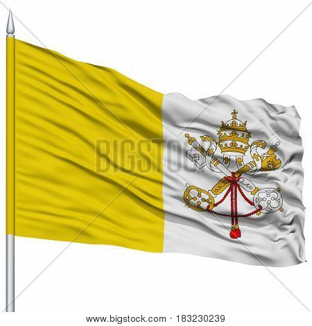 Vatican Flag on Flagpole , Flying in the Wind, Isolated on White Background