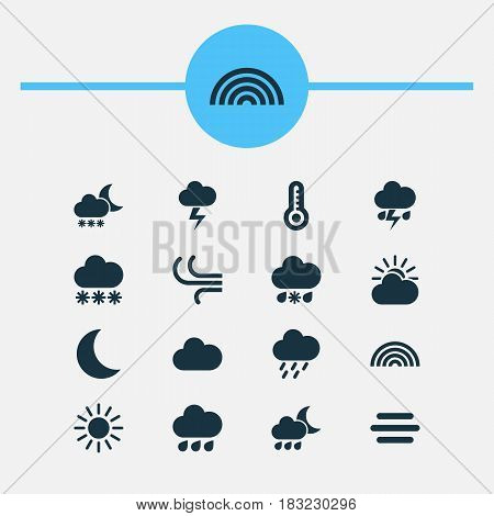 Nature Icons Set. Collection Of Sun, Sun-Cloud, Douche And Other Elements. Also Includes Symbols Such As Flash, Nightly, Douche.
