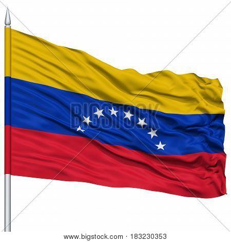Venezuela Flag on Flagpole , Flying in the Wind, Isolated on White Background