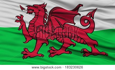 Closeup Wales Flag, Waving in the Wind, High Resolution