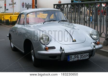"""BERLIN - MAY 28: Cars Porsche 356 Turbo the exhibition """"125 car history - 125 years of history Kurfurstendamm"""" May 28 2011 in Berlin Germany"""
