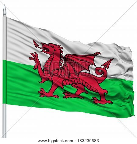 Wales Flag on Flagpole , Flying in the Wind, Isolated on White Background