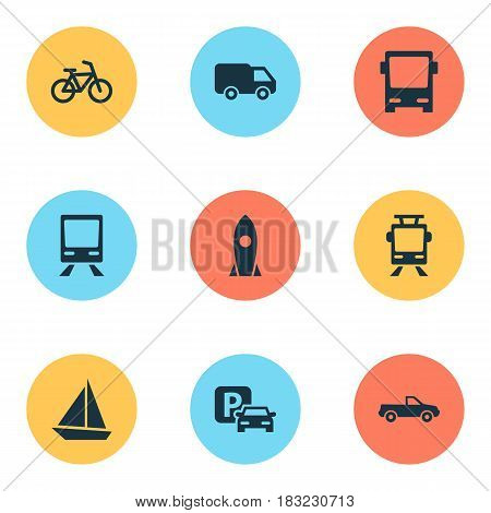 Shipment Icons Set. Collection Of Road Sign, Streetcar, Cabriolet And Other Elements. Also Includes Symbols Such As Omnibus, Pickup, Truck.