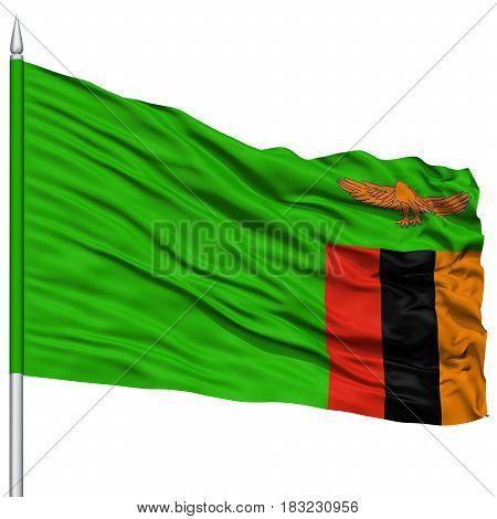 Zambia Flag on Flagpole , Flying in the Wind, Isolated on White Background