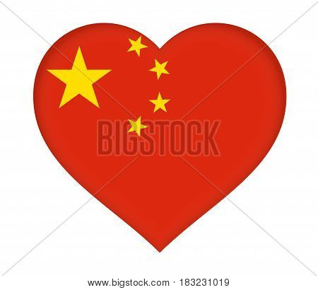 Illustration of the flag of China shaped like a heart.