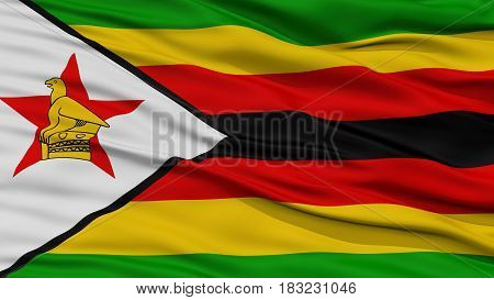 Closeup Zimbabwe Flag, Waving in the Wind, High Resolution