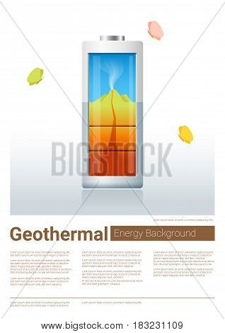 Green energy concept background with geothermal charging battery , vector , illustration