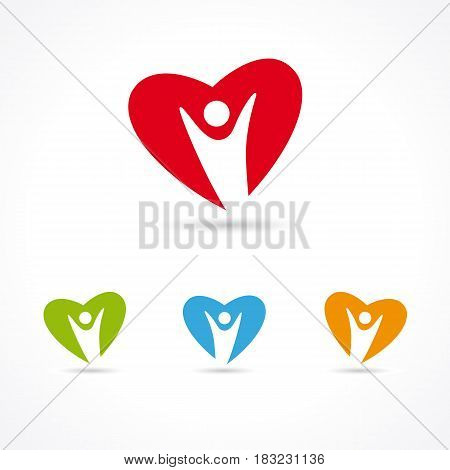 Heart Care colorful symbol set. Healthcare & Medical symbol with people heart colored shape. Human heart illustration template