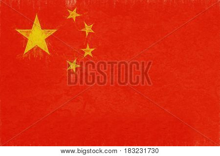Illustration of the flag of China with a grunge look.