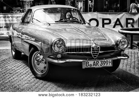 BERLIN - MAY 28: Car Alfa-Romeo Giulietta SS (Black and White) the exhibition