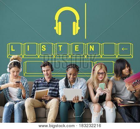 Music media headphones keyboard graphic