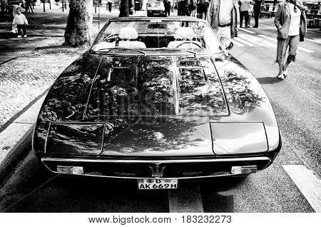 BERLIN - MAY 28: A sports car Maserati Merak (Black and White) the exhibition