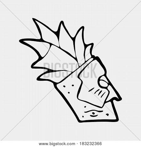 Hand drawn totem face symbol. Ancient tribal god.