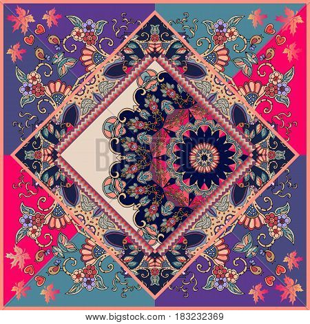 Unique ornamental pattern in ethnic style with flower mandala and unusual frame. Diagonal composition. Print for spanish shawl. Manton.