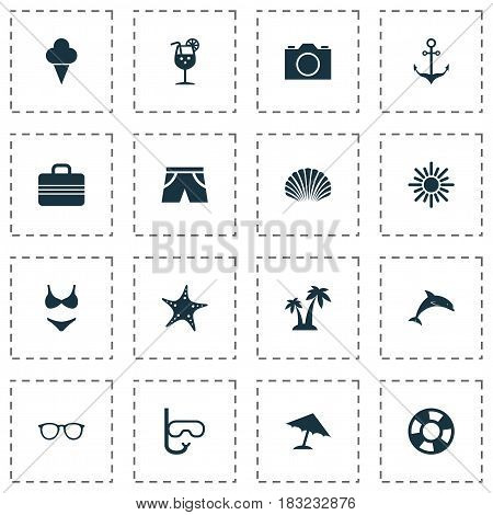 Season Icons Set. Collection Of Sweets, Smelting, Baggage And Other Elements. Also Includes Symbols Such As Ship, Boat, Shell.