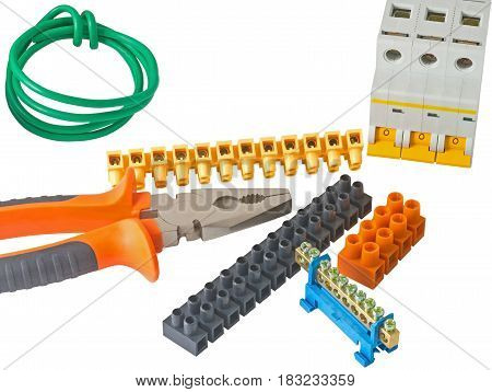 the Electric equipment on a white background