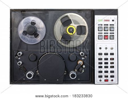 Vintage Type C videotape recorder on a white background. It is isolated the worker of paths is present.