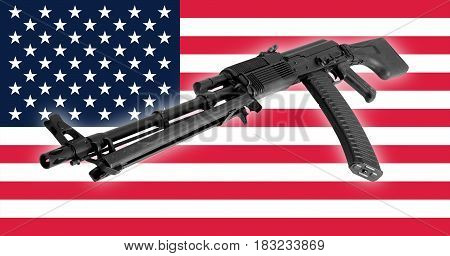 Weapon - A close up black Assault rifle to the USA of a flag background.