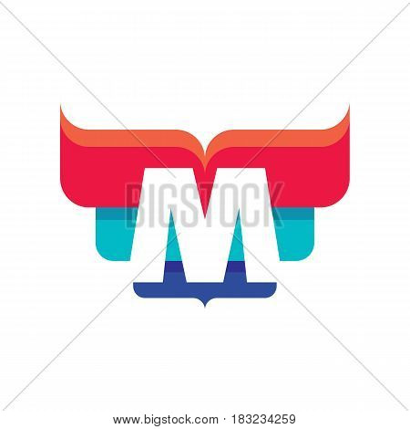 M letter - vector business logo template concept illustration for corporate identity. Abstract geometric creative sign. Graphic design element.