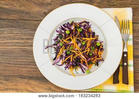 Healthy food-green peas, pumpkin and red cabbage Studio Photo