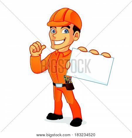 Electrician Holding Business Card