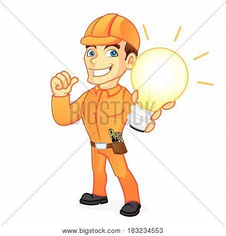 Electrician Holding Light Bulb