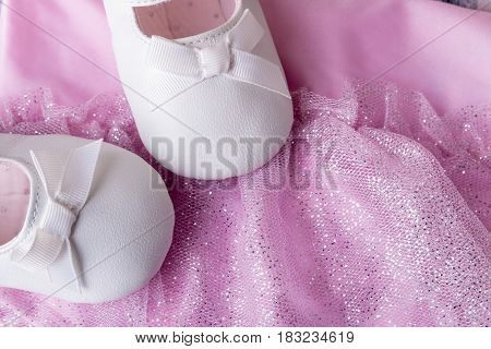 Baby Girl White Dancing Shoes Near Leotards