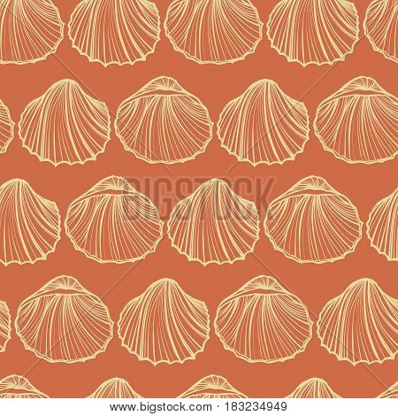 Seashells seamless pattern vector. Orange background. Sketch objects marine illustration