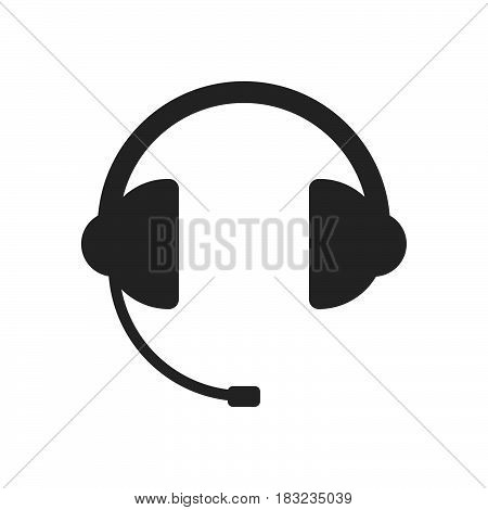 Headphone for support Icon Vector isolated on white .