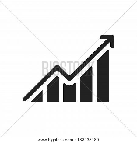 growing graph Icon Vector isolated on white .