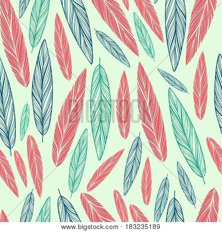 seamless pattern with feathers on light green background