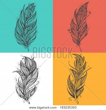 Feather icon. Set of logo design vector templates. Colorful background.