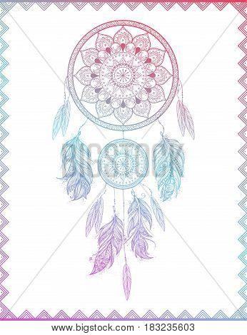 Dreamcatcher in frame with gradient, isolated vector illustration art