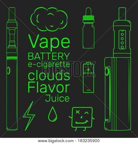 Vape shop set e-cigarette vector neon icons simple art