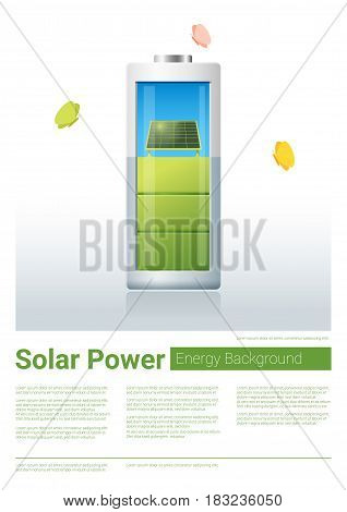 Green energy concept background with solar panel charging battery , vector , illustration