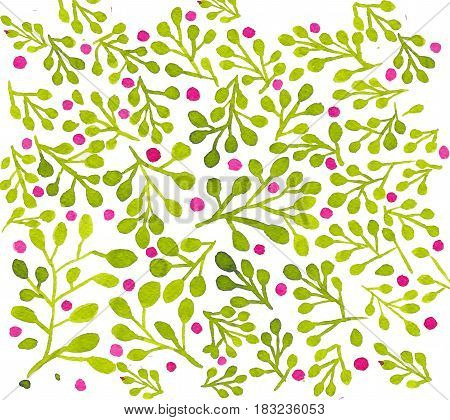 Raster pattern with forest berry bushes hand drawn with watercolor. Floral and natural background, can be used as card, packing paper pattern. Bright tracery.