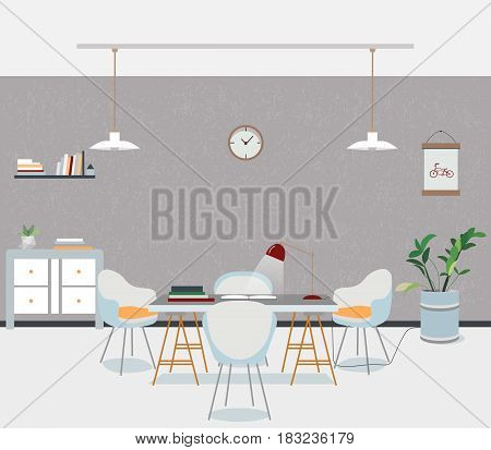 Loft room interior with barrel, chairs, table, lamp, easel, window. The dining room and living room
