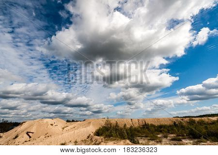 Fields In Country Under Blue Sky With White Clouds