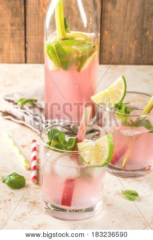 Lemonade With Rhubarb, Mint And Lime.