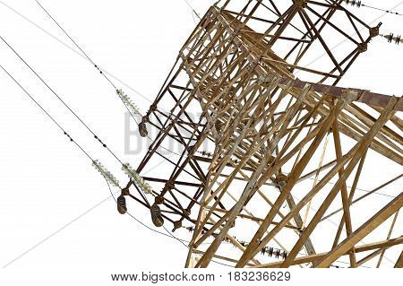 electric tower high voltage on white background