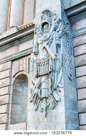 SAINT PETERSBURG RUSSIA-OCTOBER 3 2016. Bas relief on the south facade of St Michaels Castle also called Engineers Castle -former royal residence in the historic centre of Saint Petersburg Russia