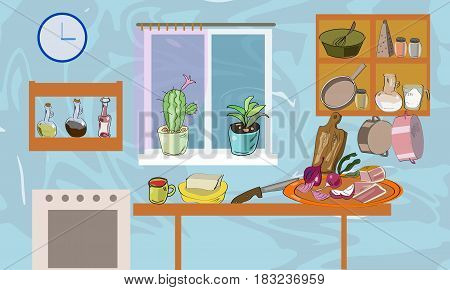 Kitchen room with hand drawn elements, kitchen utencils and vegetables.